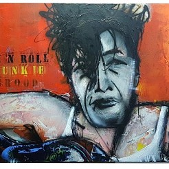 Herman Brood Rock 'n Roll Junkie geschilderd door