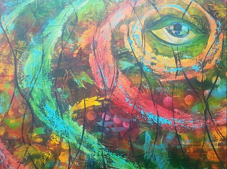 Eye of the hurricane geschilderd door Anja Berkers Art