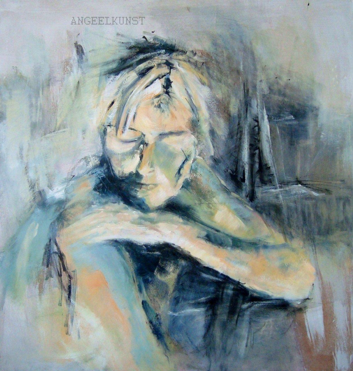 Modern portret schilderij van angelika poels angelika poels for Moderne schilderkunst