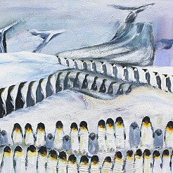 March of the penquins geschilderd door
