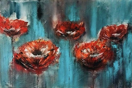 Poppies geschilderd door Diney-Art